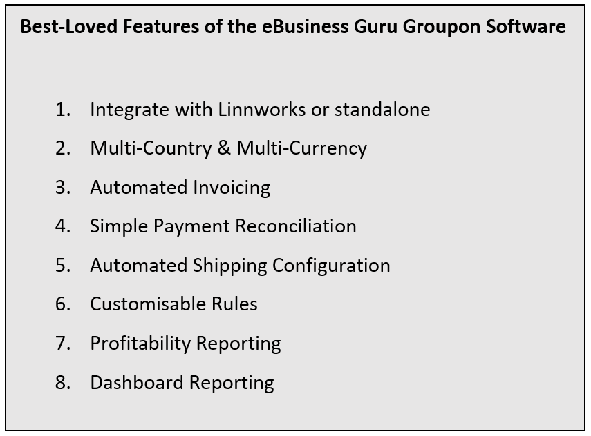 Features of the eBusiness Guru Groupon Software