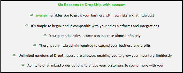 Six Reasons to DropShip with avasam