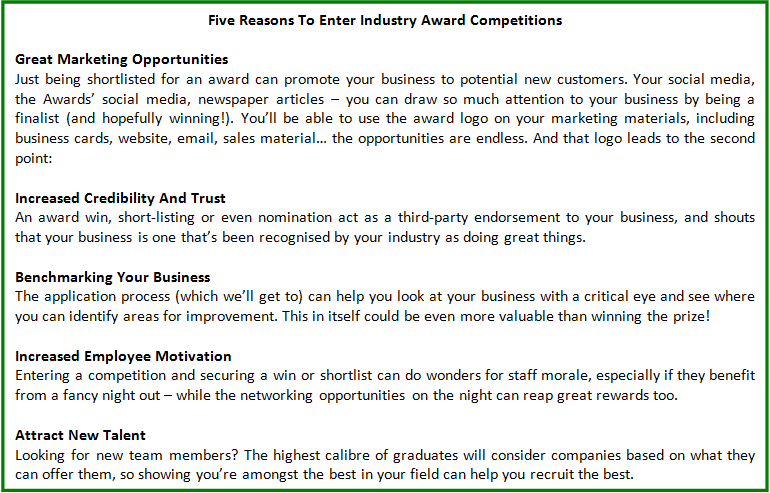 Five Reasons To Enter Industry Award Competitions