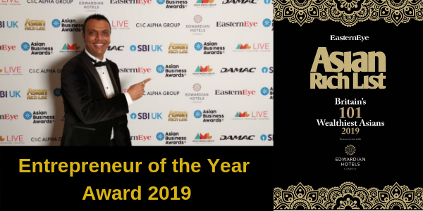Tejas at the Asian Business Awards 2019